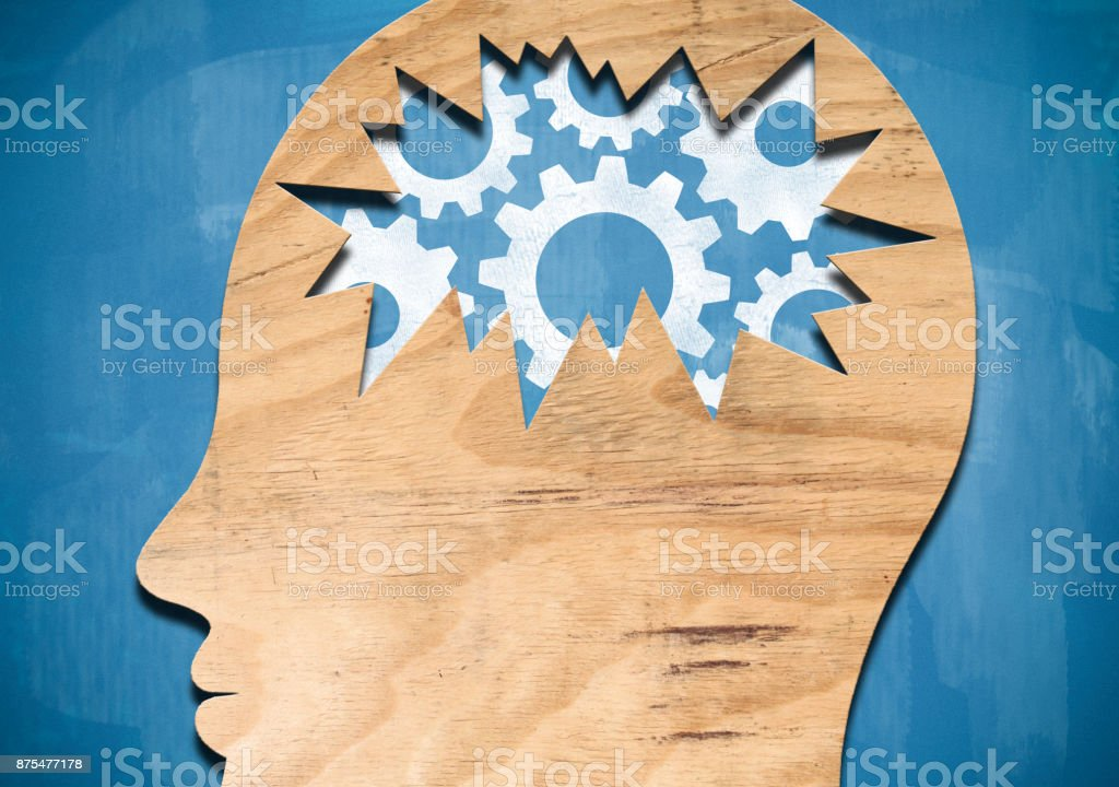 Wooden head with wheels / Blueboard concept (Click for more) stock photo