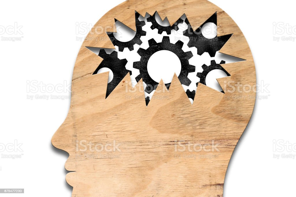 Wooden head with wheels / Whiteboard concept (Click for more) stock photo