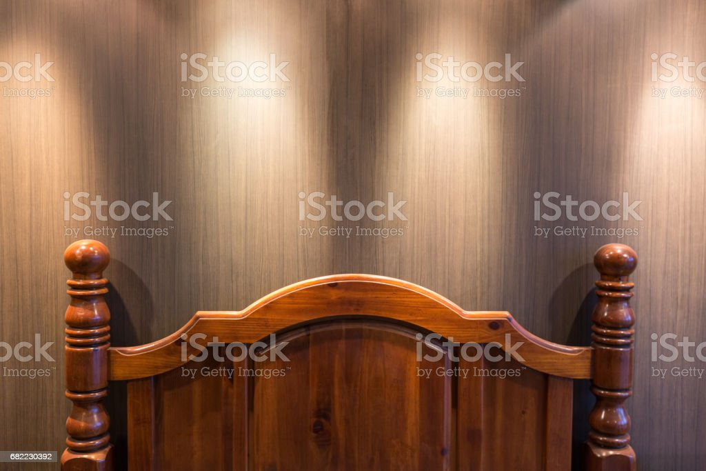 Wooden headboard stock photo