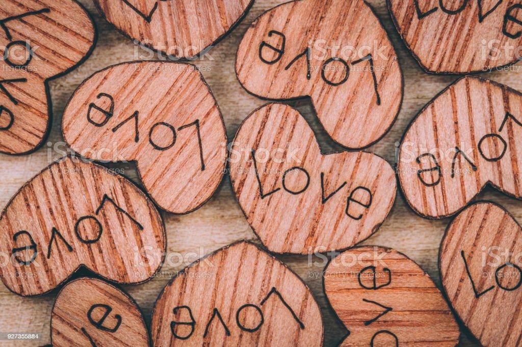 Wooden heart on the table Wooden heart on the table Blank Stock Photo