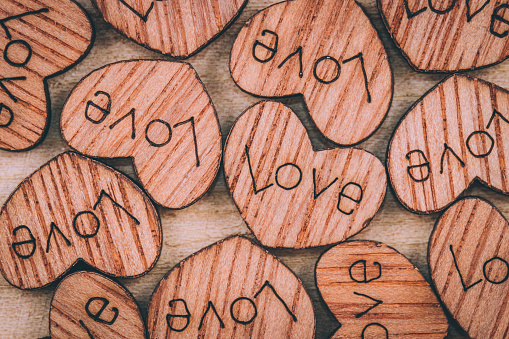 Wooden Heart On The Table Stock Photo - Download Image Now