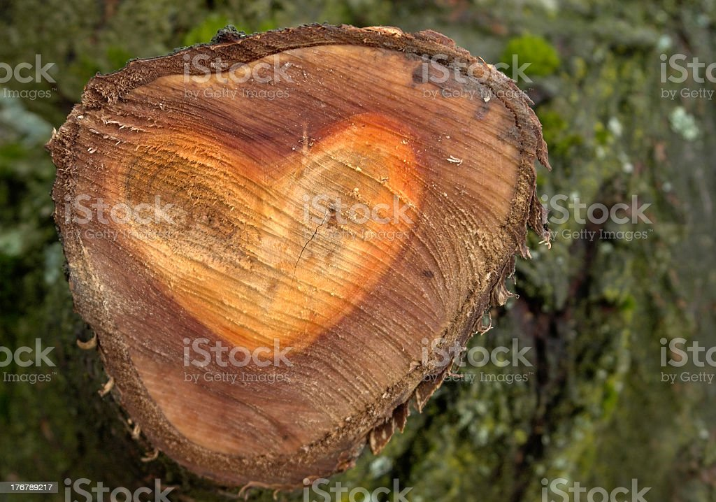 wooden heart shape royalty-free stock photo