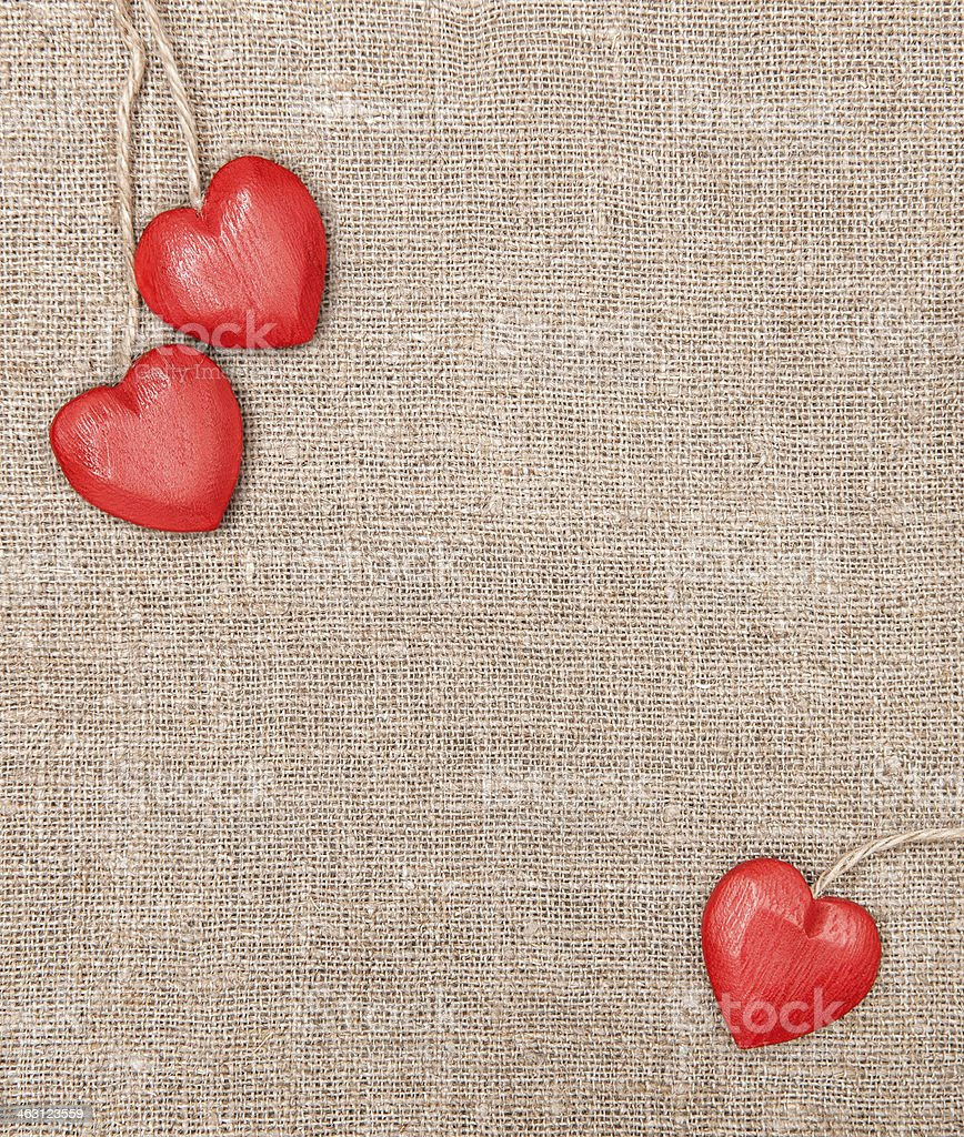 Wooden Hearts On The Burlap Stock Photo Download Image Now Istock