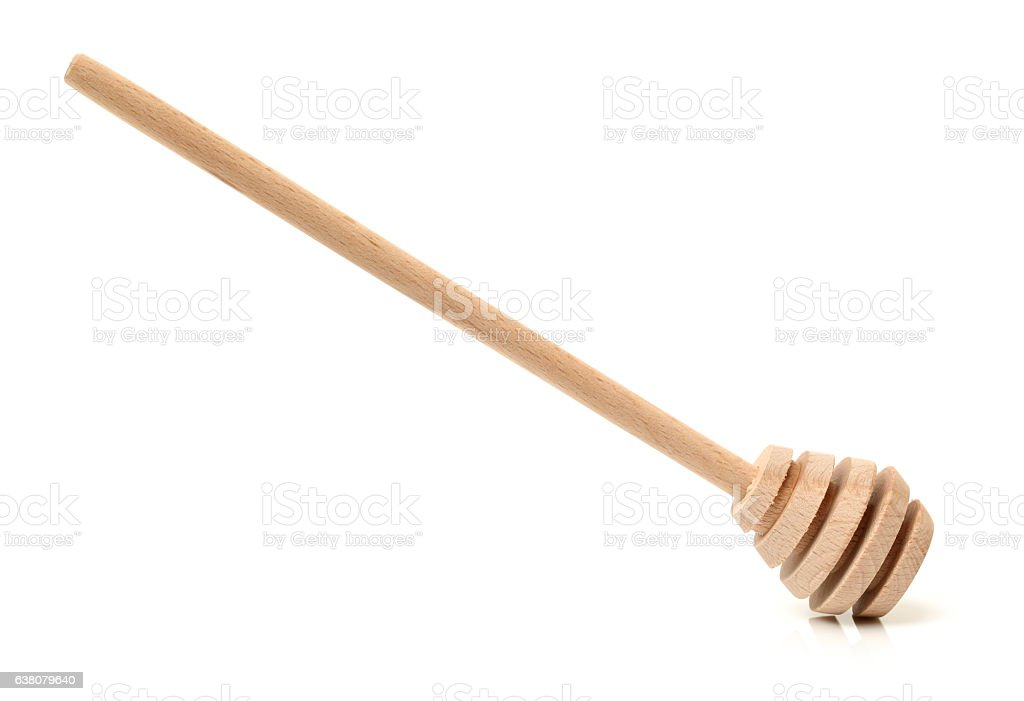 wooden honey stick stock photo
