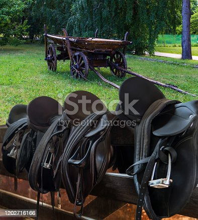 Horse Wooden Horse Cart Field Rider Leather Saddles equestrian with stirrups on fence