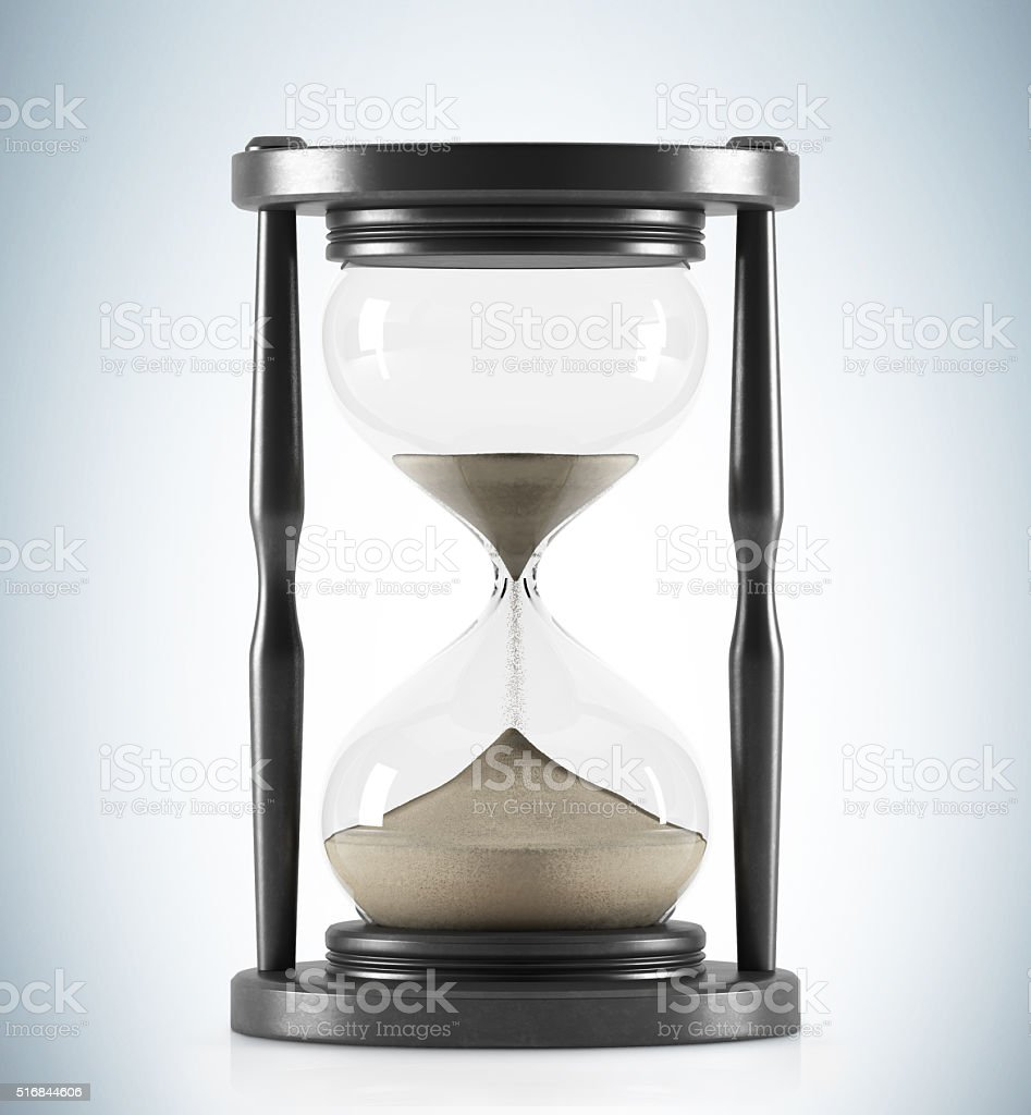 Wooden hour glass stock photo