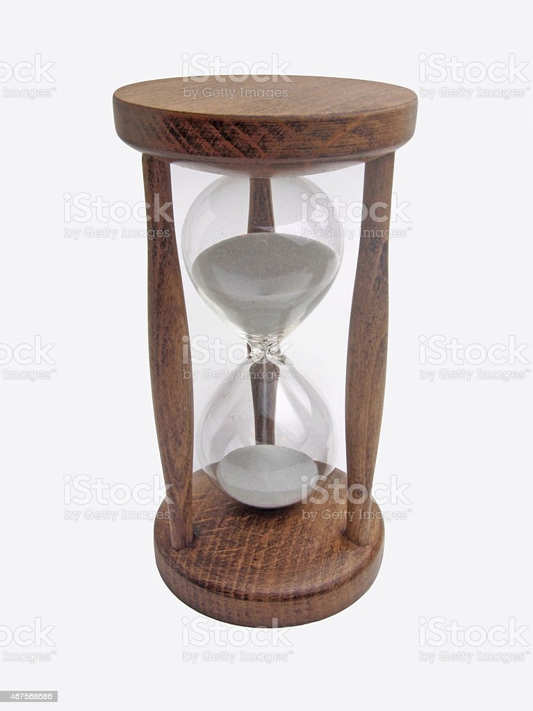 wooden hourglass stock photo
