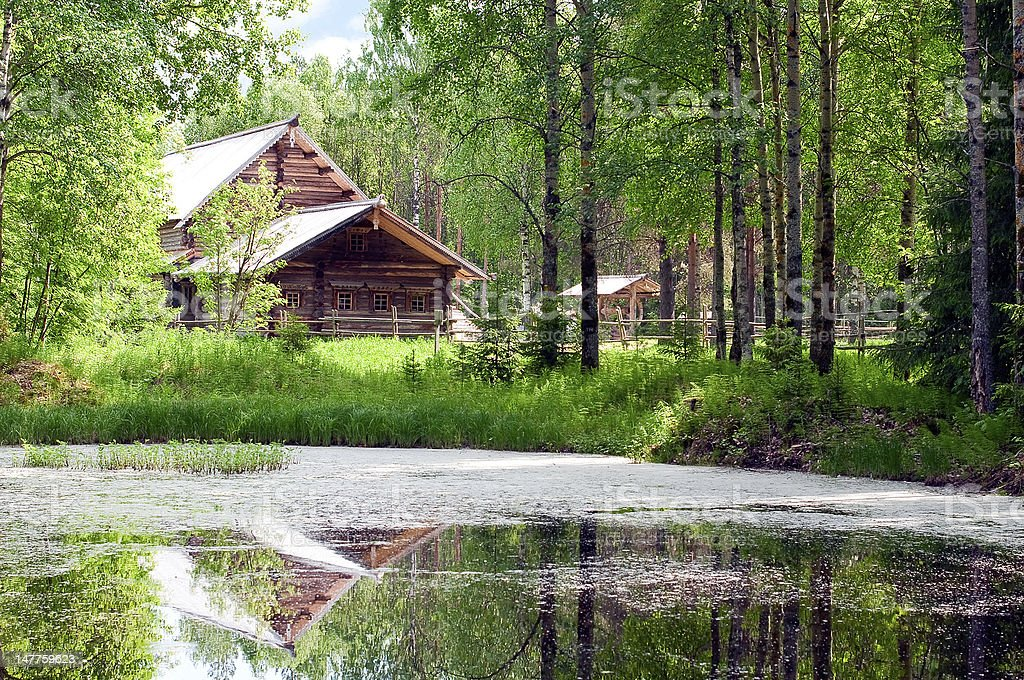 Wooden house and pond in forest stock photo
