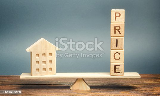 915688450 istock photo Wooden house and the word Price on the scales. Fair valuation property concept. Home appraisal. Fair trade and cost. Legal transparent deal. Business and real estate 1184633525