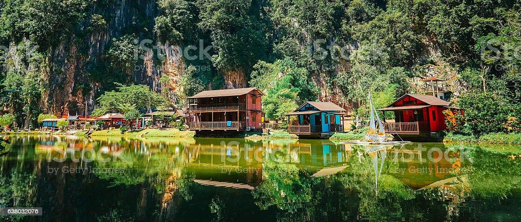 Wooden house at Ipoh Lake, Perak, Malaysia stock photo