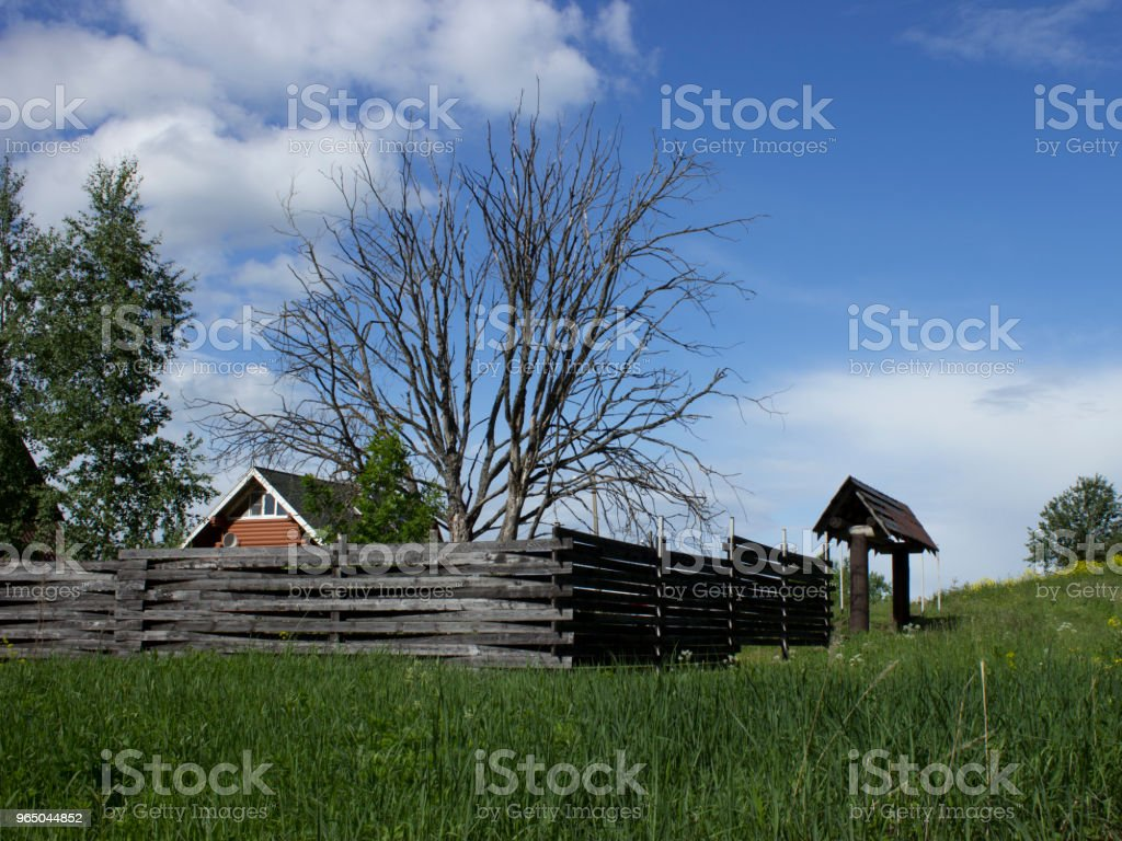 Wooden house behind a fence with a gate and bare dried tree zbiór zdjęć royalty-free