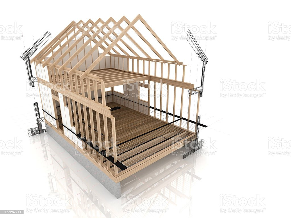 Wooden house construction stock photo more pictures of abstract wooden house construction royalty free stock photo malvernweather Gallery