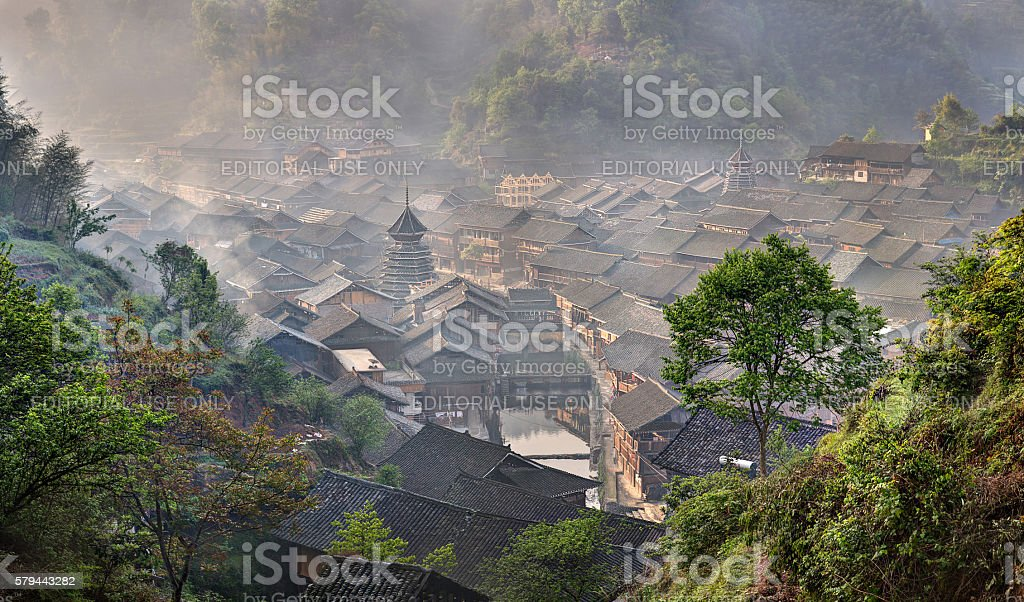 Wooden house dong ethnic minority village in  mountainous southwestern China. stock photo