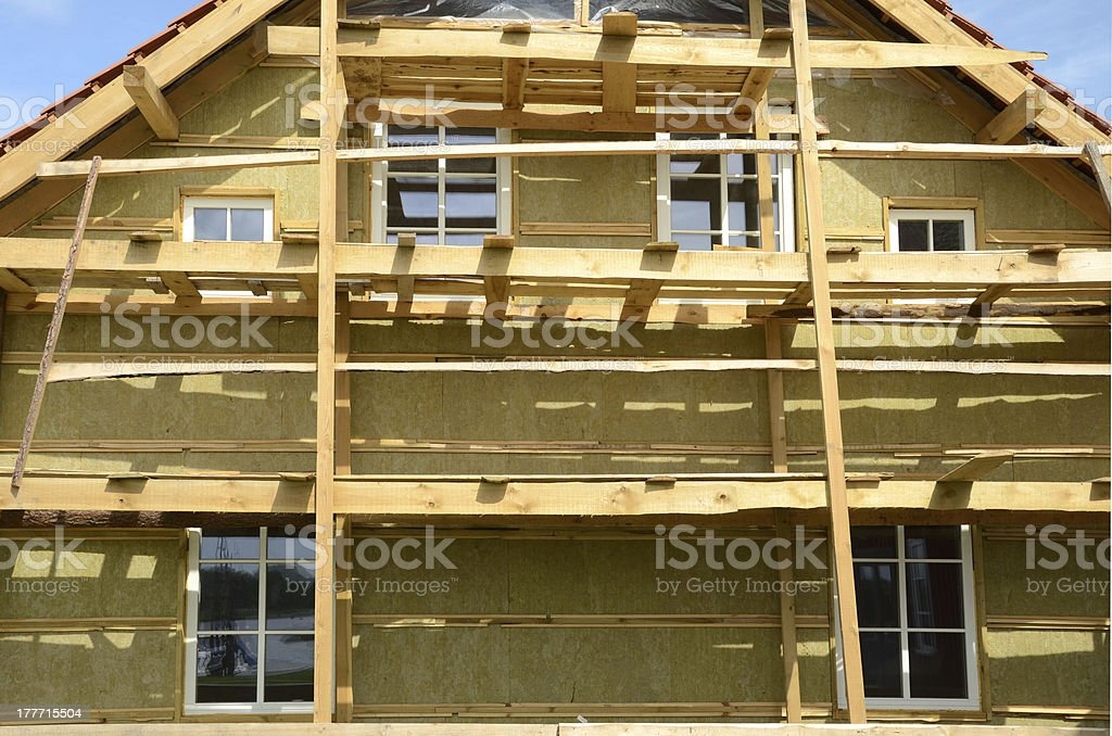 wooden house exterior thermal insulation with mineral rockwool stock photo