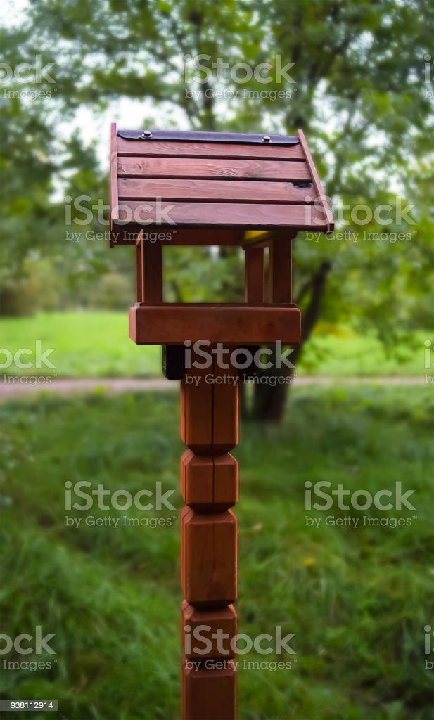 Wooden House For Birds Tits Pigeons Feeder With Large Windows Stands