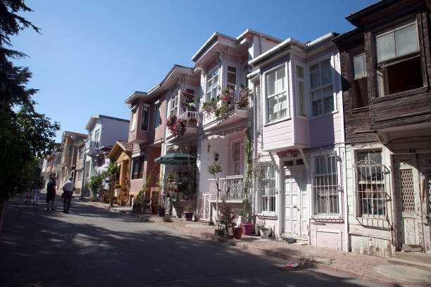 wooden house in Buyukada, Istanbul stock photo