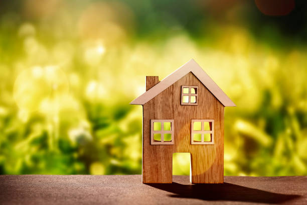 Wooden house in front of nature background Wooden house on stone floor in front of nature background with bokeh detached house stock pictures, royalty-free photos & images