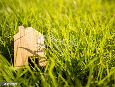 958039576istockphoto Wooden house in green lawn and lighting sunset 1065404956