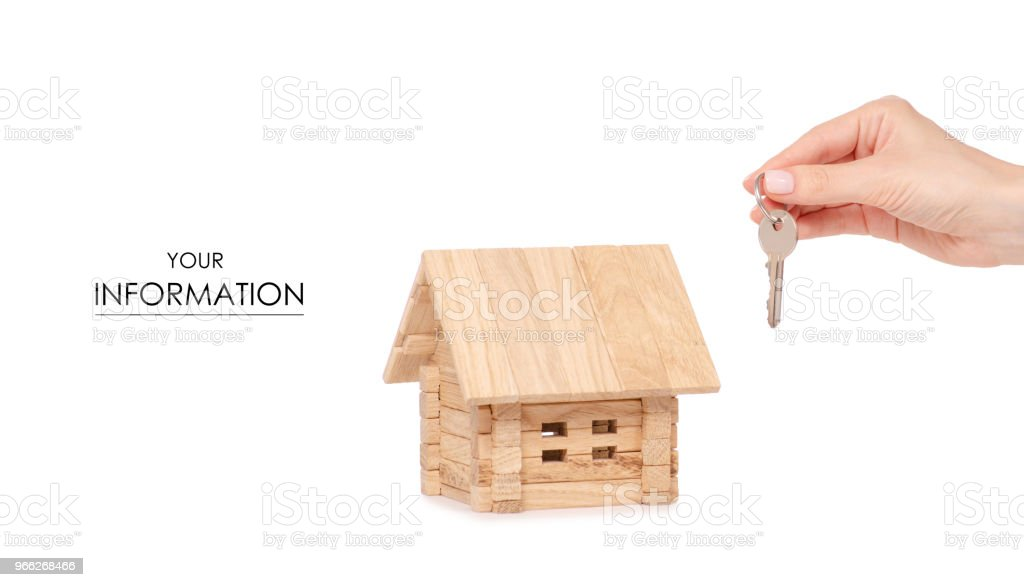 Wooden House In Hands Key Pattern Stock Photo Download Image Now