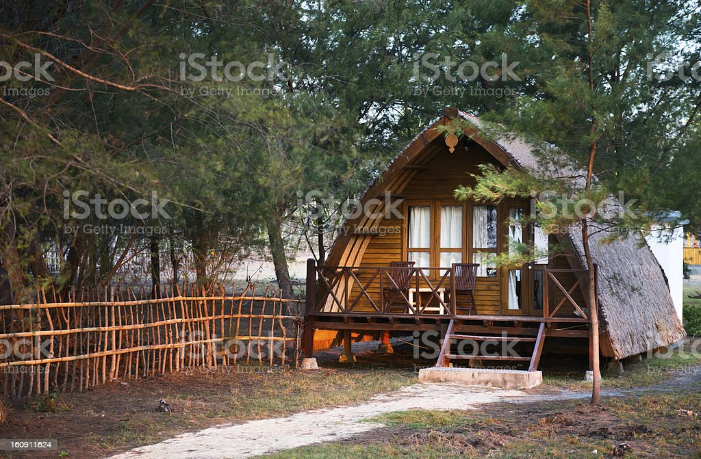 Wooden house in traditional Indonesian style stock photo
