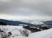 Serbian old village road in winter