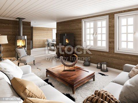Wooden house interior. Render image.
