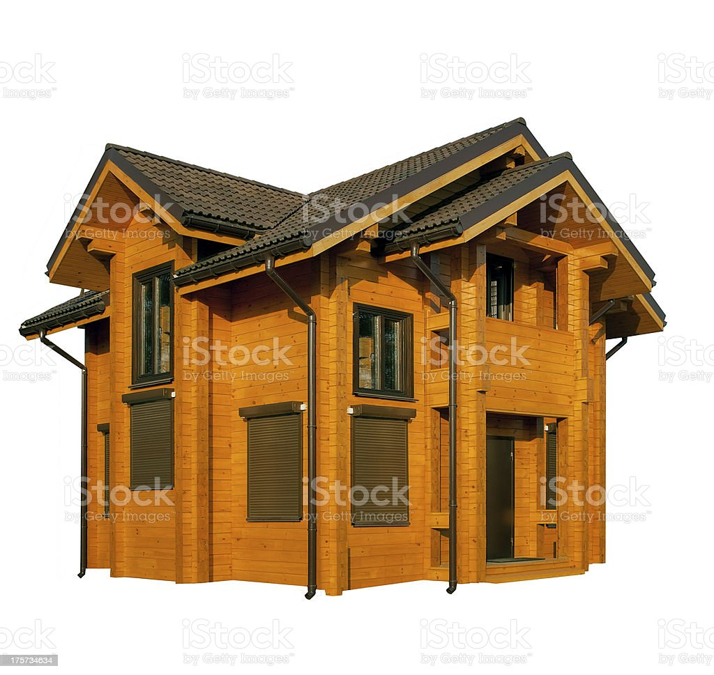 wooden house isolated on white royalty-free stock photo