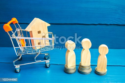 istock wooden house, supermarket trolley, people. real estate. Buying, selling and renting a house. Loan for an apartment, mortgage rate. Affordable housing for young families. auction, public sale 1022444582