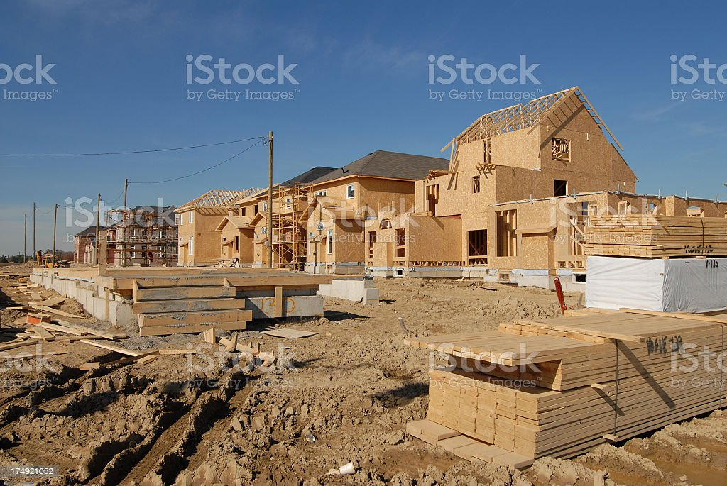 A wooden house under construction stock photo