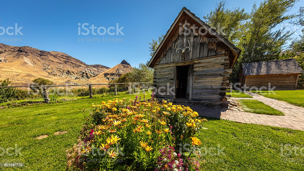 Wooden house with a flowers on a background of hills foto stock royalty-free