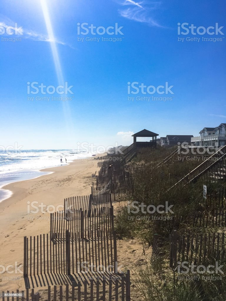 Wooden Houses along the Sea at Outer Banks, NC stock photo