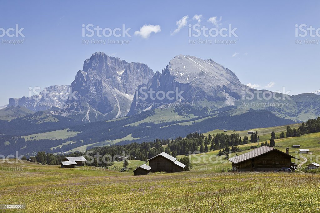 Wooden houses at Alpe di Siusi, Italy stock photo