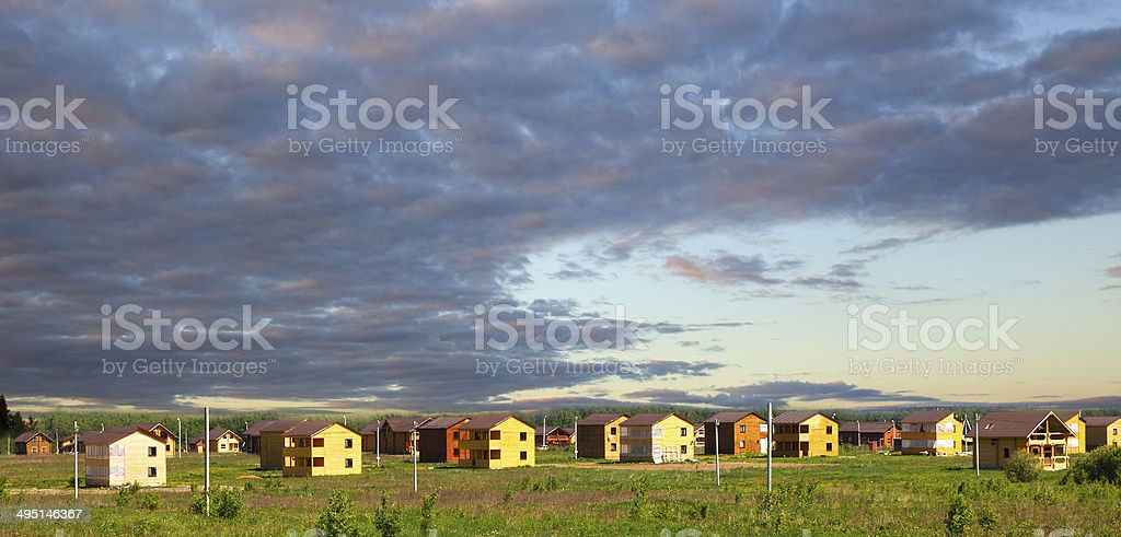 wooden houses constructed out of town royalty-free stock photo