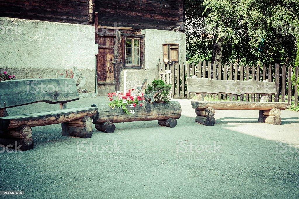 wooden houses in Fiesch - Switzerland stock photo