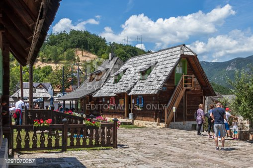 Wooden houses in Serbian mountain near Zlatibor surroundings, Serbia.