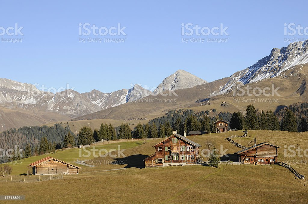 wooden houses in the Swiss mountains royalty-free stock photo