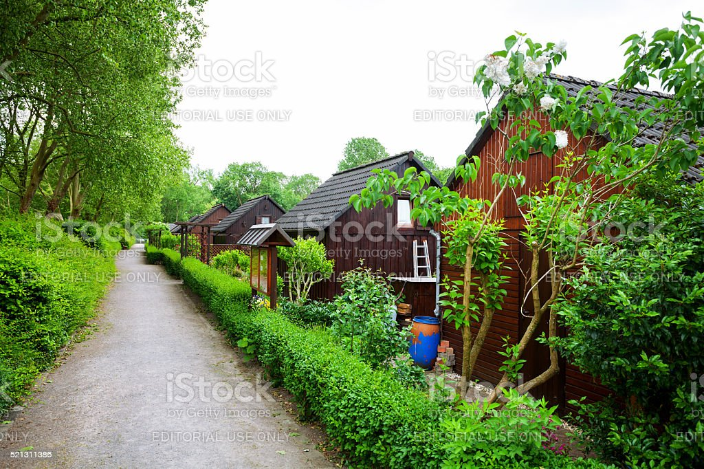 Wooden houses of allotment stock photo