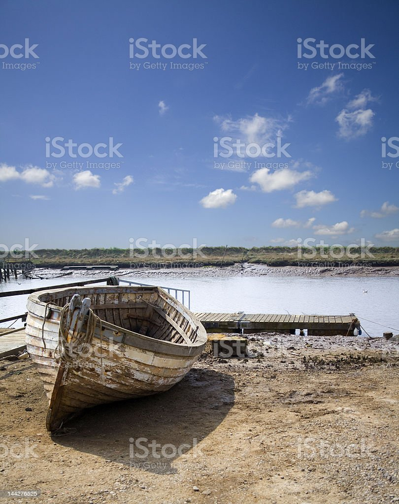Wooden hulled boat royalty-free stock photo