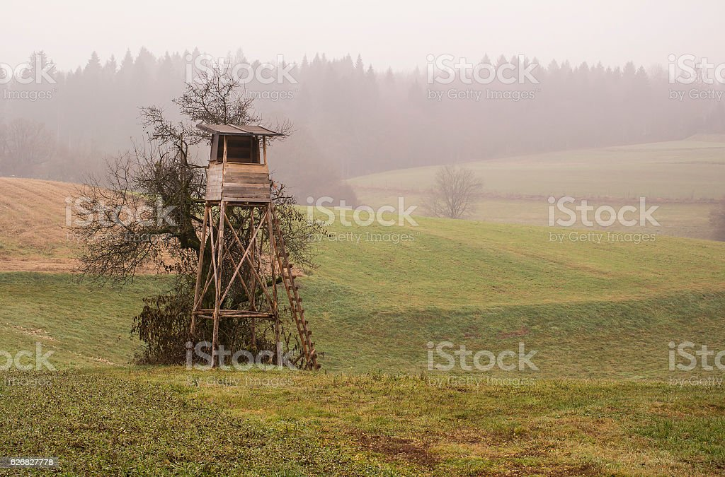 Wooden hunting lodge in the field stock photo