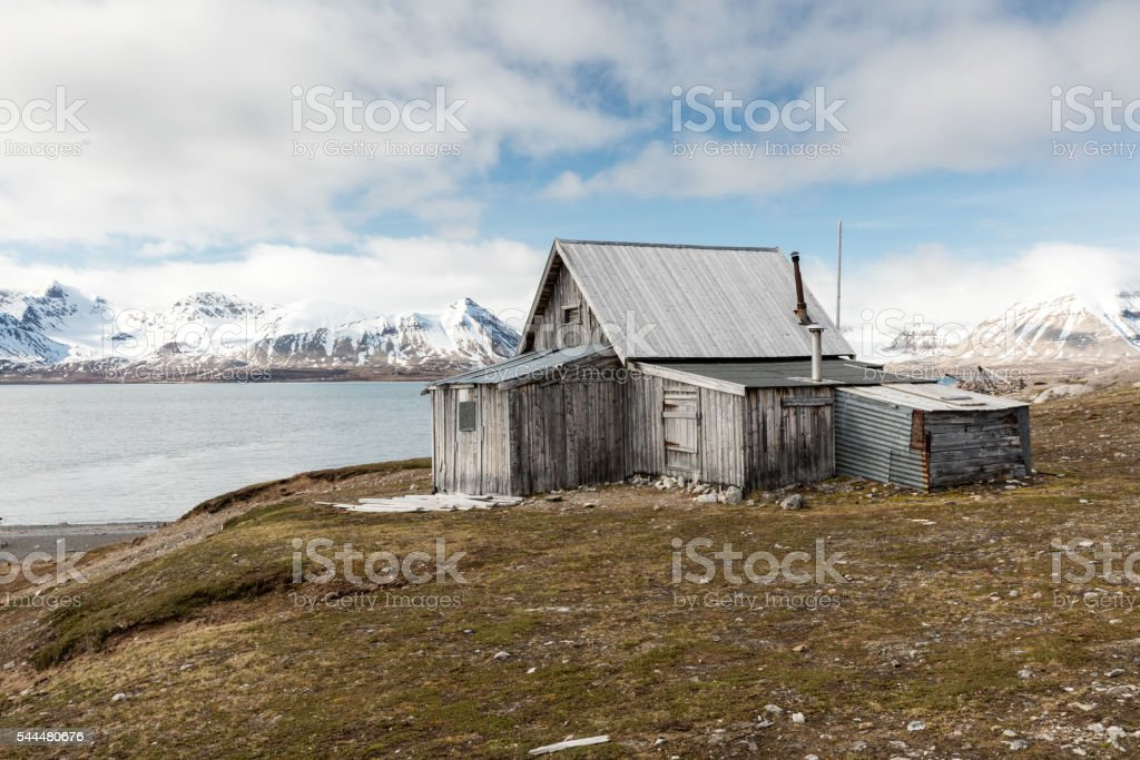 Wooden hut at historic Ny London site, Krossfjord, Spitsbergen, Norway stock photo