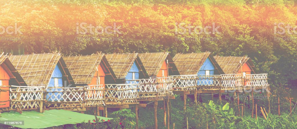 wooden hut beautiful colorful stock photo