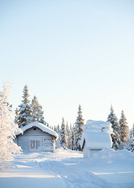Wooden hut in a snowy sunny landscape stock photo