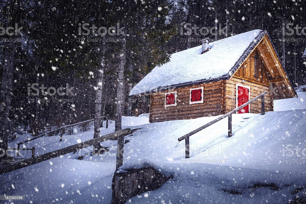 Wooden Hut In The Forest royalty-free stock photo