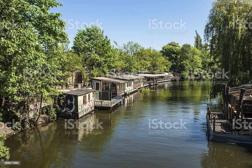 Wooden huts in Berlin. Club scene with restaurants. royalty-free stock photo