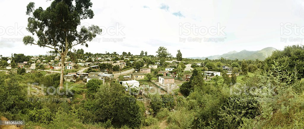 Wooden huts in South African township settlement royalty-free stock photo