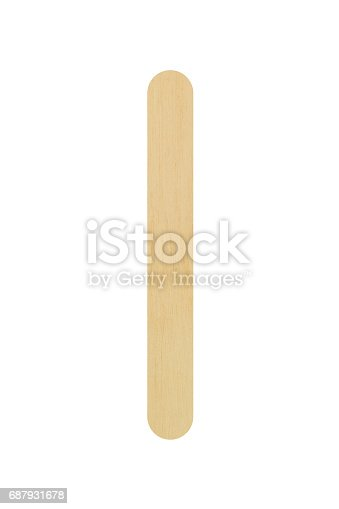 Wooden ice cream stick isolated on white background, Clipping path