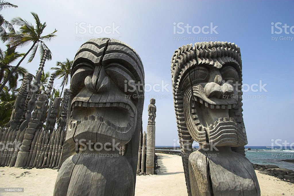Wooden idols stock photo