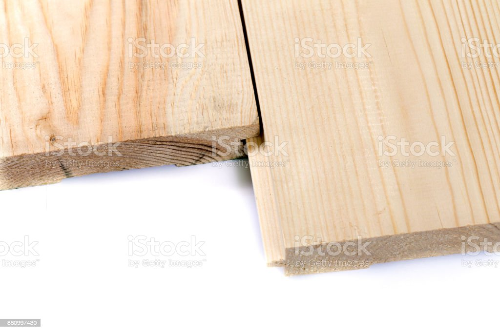 Wooden imitation lumber isolated on white background. Set of wooden board isolated stock photo