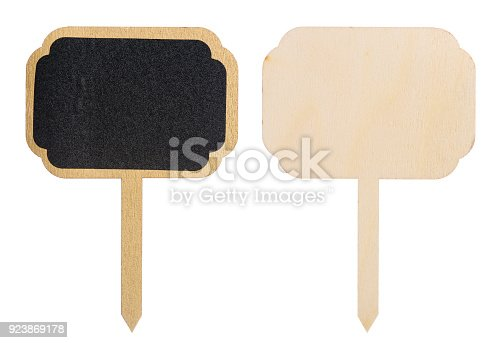 923869178 istock photo Wooden information label sign 923869178