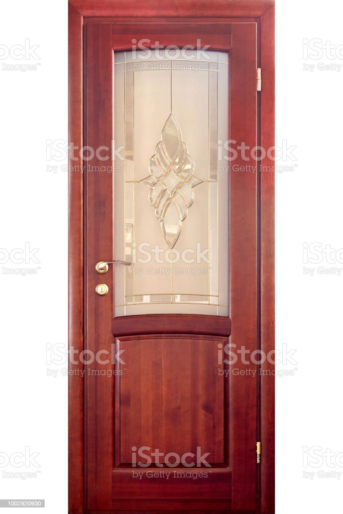 Wooden Interior Door Of Red Oak With Brass Handle And Insets Of